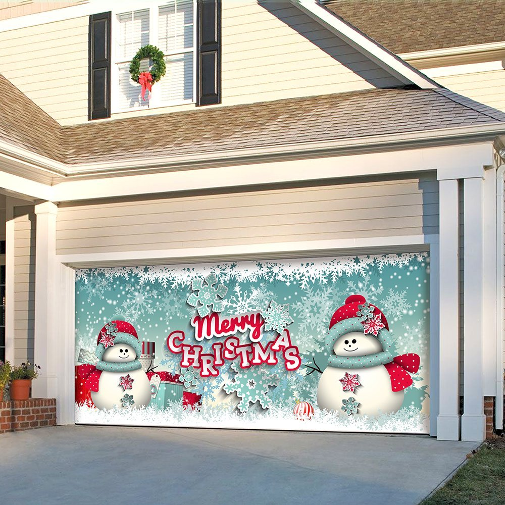 Outdoor Christmas Holiday Garage Door Banner Cover Mural Décoration 7'x16' - Snowman Merry Christmas - ''The Original Holiday Garage Door Banner Decor'' by Victory Corps