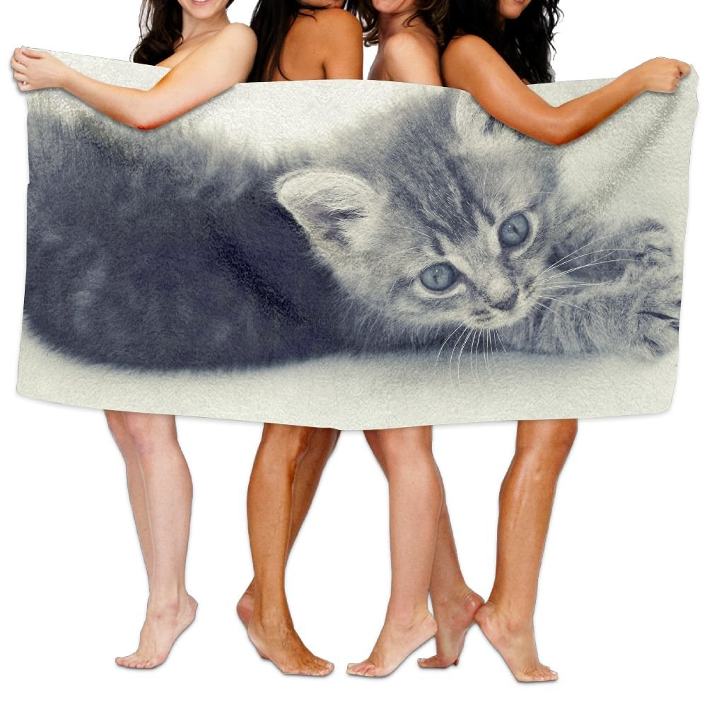 PengMin Lovely Animal Cat Premium 100% Polyester Large Bath Towel, Pool And Bath Towel (80'' X 130'') Natural, Soft, Quick Drying