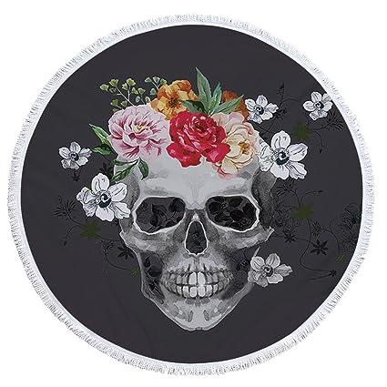 Amazon.com: Sugar Skull Round Beach Towel Floral Tassel ...