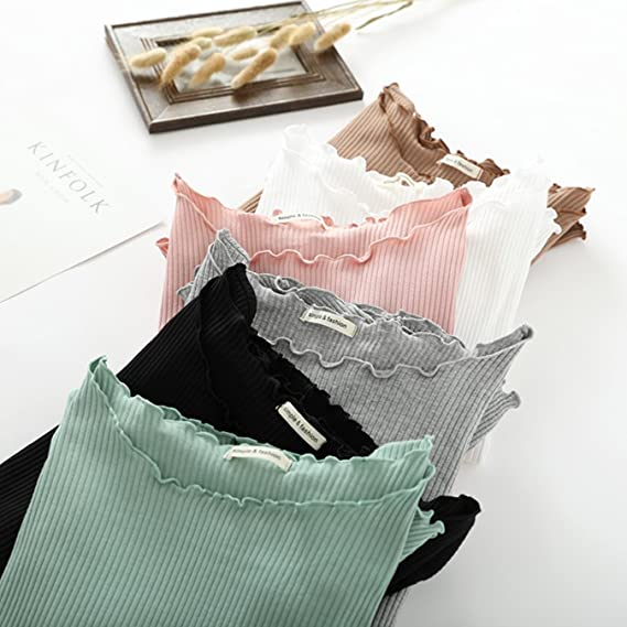 Amazon.com: Cotton Spring Sweet Ruffles O Neck Knitted Long Sleeve T-Shirt Basic Tee Casual White Stretch T Shirt Autumn Slim Tops: Clothing