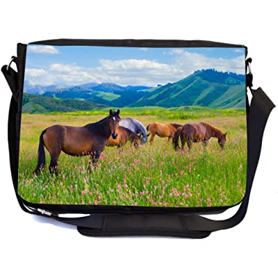 Rikki Knight Horses Grazing on Meadow Design Multifunctional Messenger Bag - School Bag - Laptop Bag - with padded insert for School or Work - Includes Matching Compact Mirror