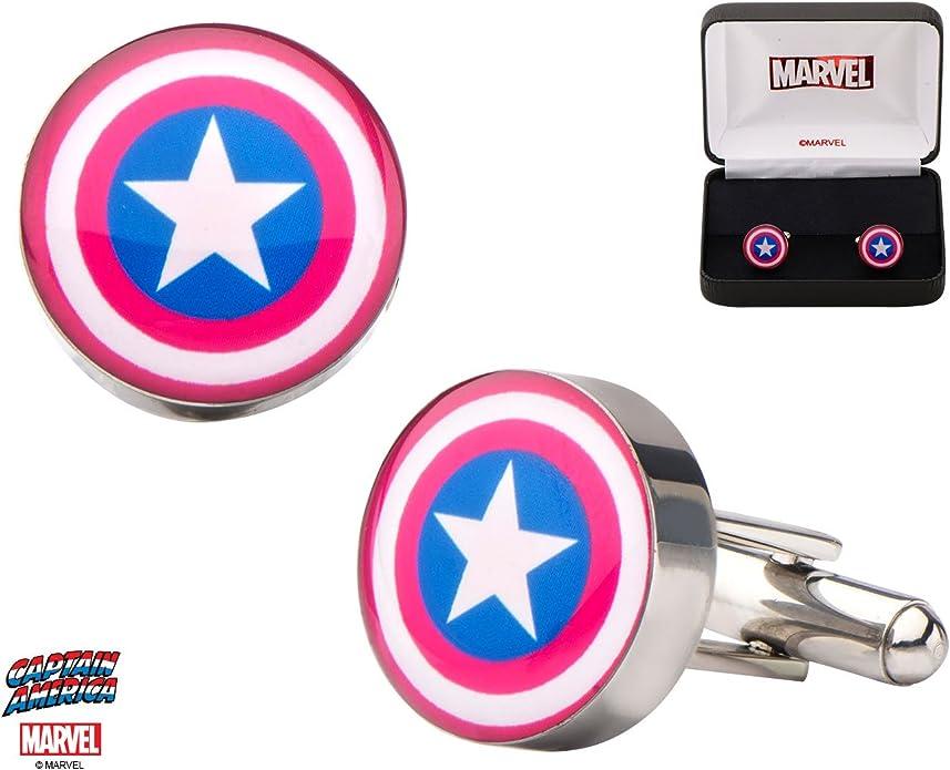 Marvel Capitán América Shield Logo acero inoxidable Gemelos w/caja de regalo por marca, diseño de superhéroes: Amazon.es: Joyería