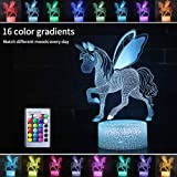 Unicorn 3D Night Light for Girls Birthday Gift-16 Changing Color Remote Control LED Kids Room Decor Lighting, 3D Led Illusion Lamp Kids Light with Charger (Unicorn 1)