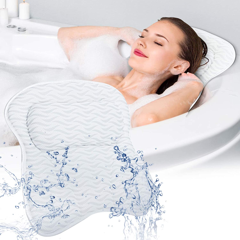 Bath Pillow SAWAKE Bathtub Pillow, Ergonomic Bath Pillows with 3D Air Mesh, Breathable Bath Accessories for Women & Men, Helps Support Head, Shoulder and Neck, Fits All Bathtub, Hot Tub, Home Spa : Beauty