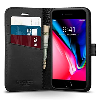 competitive price 1e3b0 0e97f iPhone 8 Case Wallet, Spigen Wallet S - Kickstand Feature Card Holder  Wallet Case for Apple iPhone 7 (2016) / iPhone 8 (2017) - Black