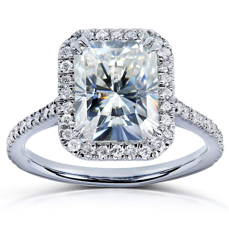Forever Brilliant Radiant-cut Moissanite & Diamond Engagement Ring 3 Carat (ctw) in 14k White Gold by Kobelli