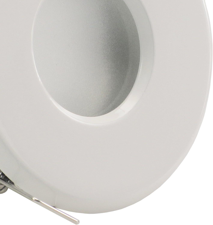5er Set (1-5er Sets) Decken Einbaustrahler Bad MERANO IP65 rund 230V EDELSTAHL OPTIK gebürstet; 3,3W SMD LED Warm-Weiß; Einbauleuchte für Feuchtraum + Außen 1x Weiß Led Warm-w.