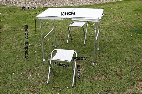 MONEYY Aleación de aluminio sillas plegables kit publicidad portátil escritorio escritorio calada, mesas de picnic