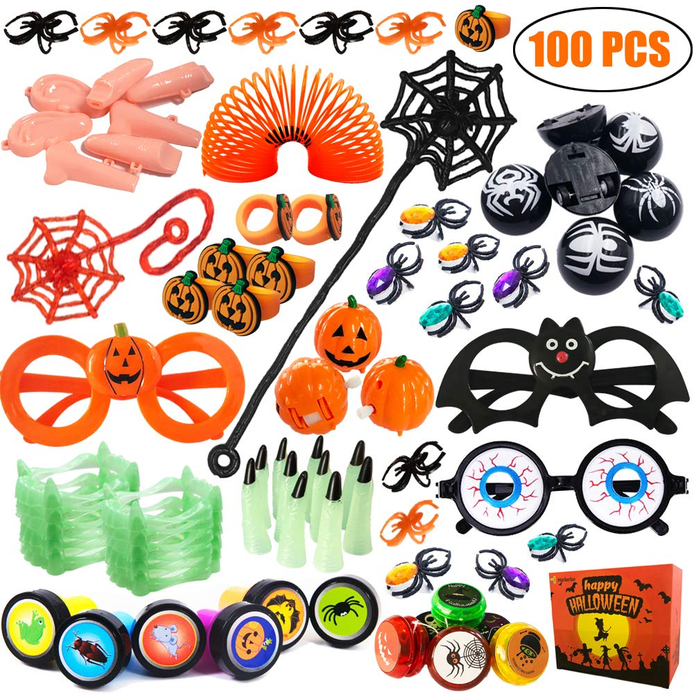 100 PCS Halloween Party Favors Toy Assortment for Kids Bulk Toys Including Magic Springs, Stampers, Yo-Yo balls, Vampire Teeth, Spider Rings, Wind Up Pumpkin, Eyeball Glasses for Halloween Prizes Gift box H Harlerbo