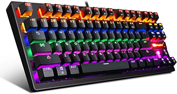 Mechanical Keyboard 87 Keys Small Compact Multicolour Backlit -Anivia MK1 Wired USB Gaming Keyboard with Blue Switches