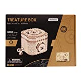 ROBOTIME 3D Wooden Treasure Box Puzzle Unique Model Kits to Build Mechanical Engineering Kits Great Birthday for Adults and Children Age