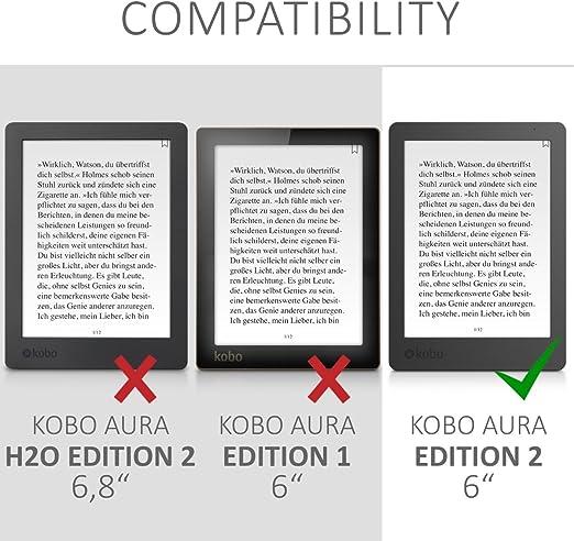 kwmobile Funda compatible con Kobo Aura Edition 2 - Para eReader ...