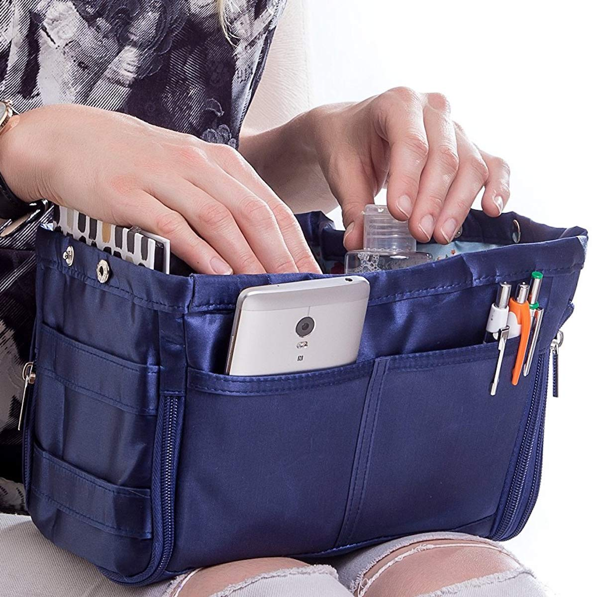 Purse Organizer for Handbag Tote Bag - Premium Insert - Dual Color Reversible and Expandable (Style 5, Navy Blue)
