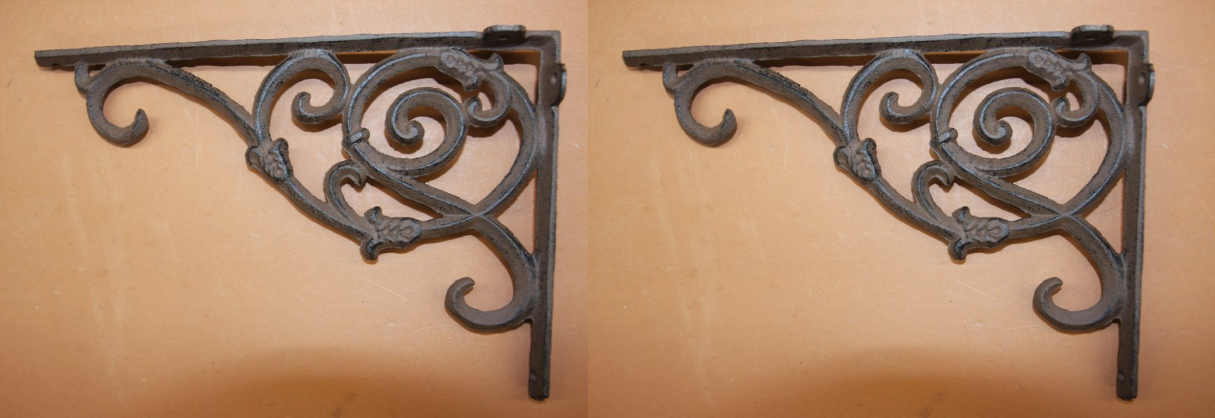 Elegant Americana Design Solid Cast Iron 9 1/4 inches, Vintage-look scroll work, Set of 2, B-62
