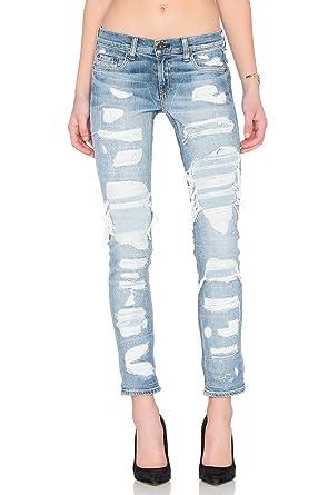 28993b6571a rag & bone / JEAN Women's The Dre Distressed Slim Boyfriend Jeans in  Brigade (23