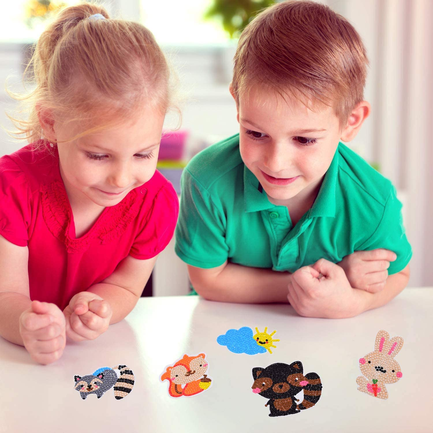 30PCS Diamond Painting Kits for Kids 5D Mosaic Animal Stickers Craft Handmade Art Family Activities Supplies