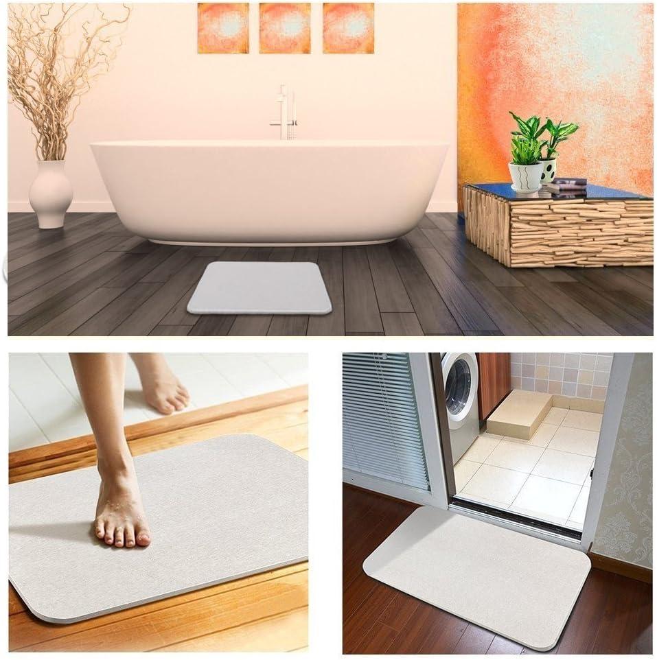 Tapis de bain en terre diatom/ée /à s/échage rapide Tapis de douche absorbant D/éodorant Tapis de bain avec tapis antid/érapant 30 x 40 x 1 cm papier de verre