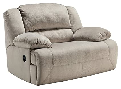 Ashley Furniture Signature Design   Toletta Recliner Chair   Wide Power  Reclining Love Seat   Granite