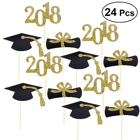 LUOEM Toppers torta di laurea 2018 Glitter Toppers torta Tema di laurea  Toppers Cupcake per la cfeed0e20eee