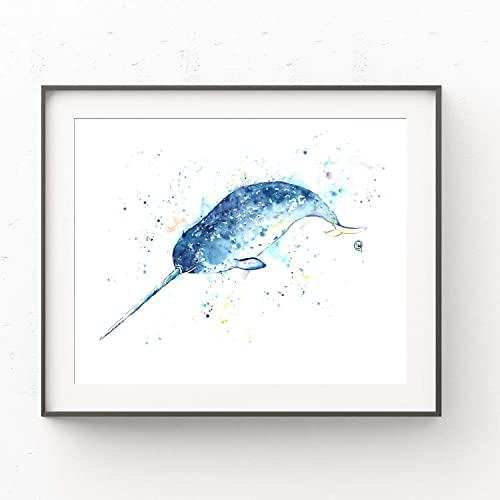 Amazon.com: Narwhal Painting Wall Art by Lisa Whitehouse | Narwhal Unicorn Of The Sea, Narwhal Gifts, Nursery Decor: Handmade
