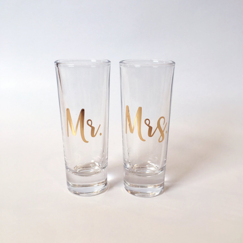 Gold Mr. and Mrs. Shot Glass Set