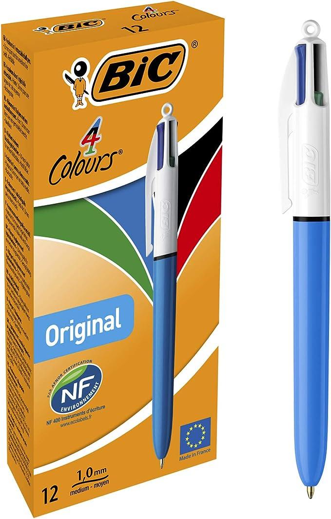 BIC 4 colores Original bolígrafos Retráctiles punta media (1,0 mm ...