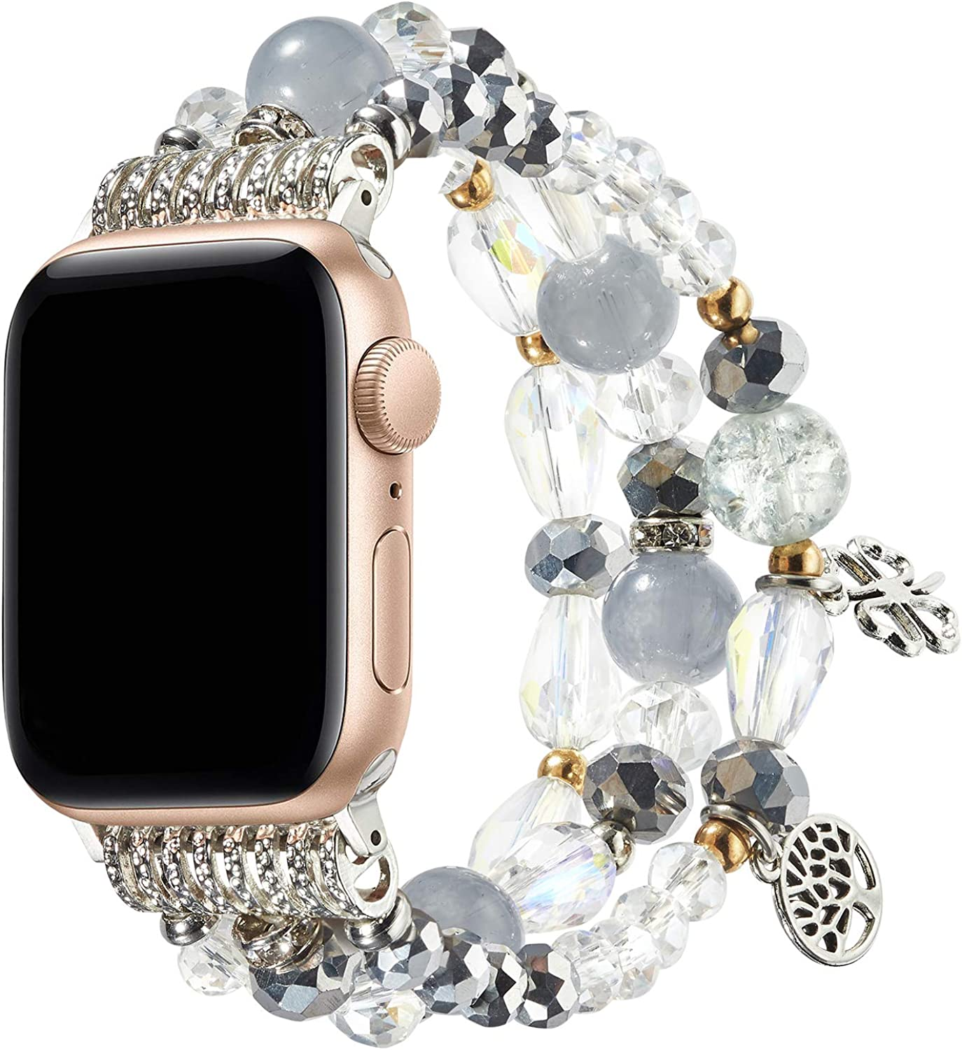 TOMMEIE Bracelet Compatible with Apple Watch Band 38mm 40mm 42mm 44mm fashion charm jewelry beaded elastic band Stainless Steel Adapter Fancy bracelet iWatch Series SE/6/5/4/3/2/1 Women Girl Gift