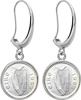 product image for Irish Harp Coin Earrings | Silvertone Hook Style | Genuine Coin | Women's Fashion Jewelry | Certificate of Authenticity - American Coin Treasures