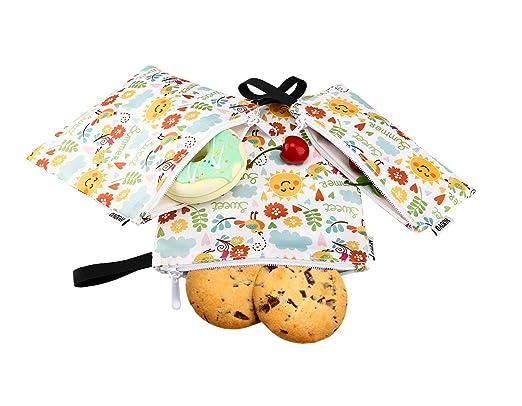 Nuovoware Bolsa Portátil de Sandwich y Alimentos, [3 PZS] Bolso de Cremallera, Reutilizables, Ecológicos y Lavables para Almacenar Comidas, Galleta, ...