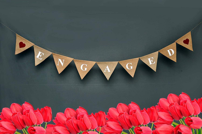 Yute de Engaged banner-engagement decoraci/ón Boda burlap-rustic boda garland-custom primavera boda banner-ornate
