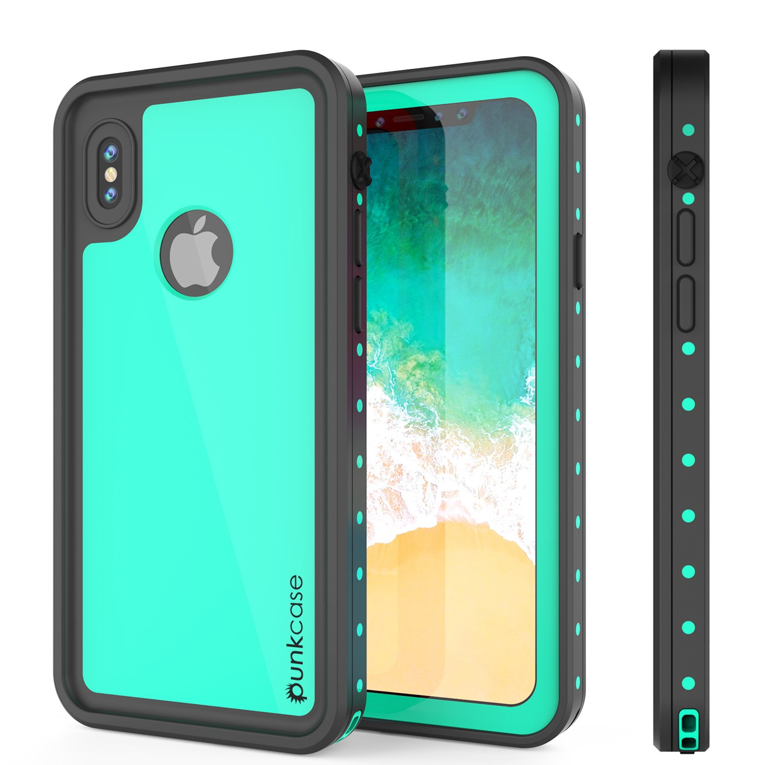 iPhone X Waterproof Case, Punkcase [StudStar Series] [Slim Fit] [IP68 Certified] [Shockproof] [Dirtproof] [Snowproof] Armor Cover for Apple iPhone Ten [Teal]