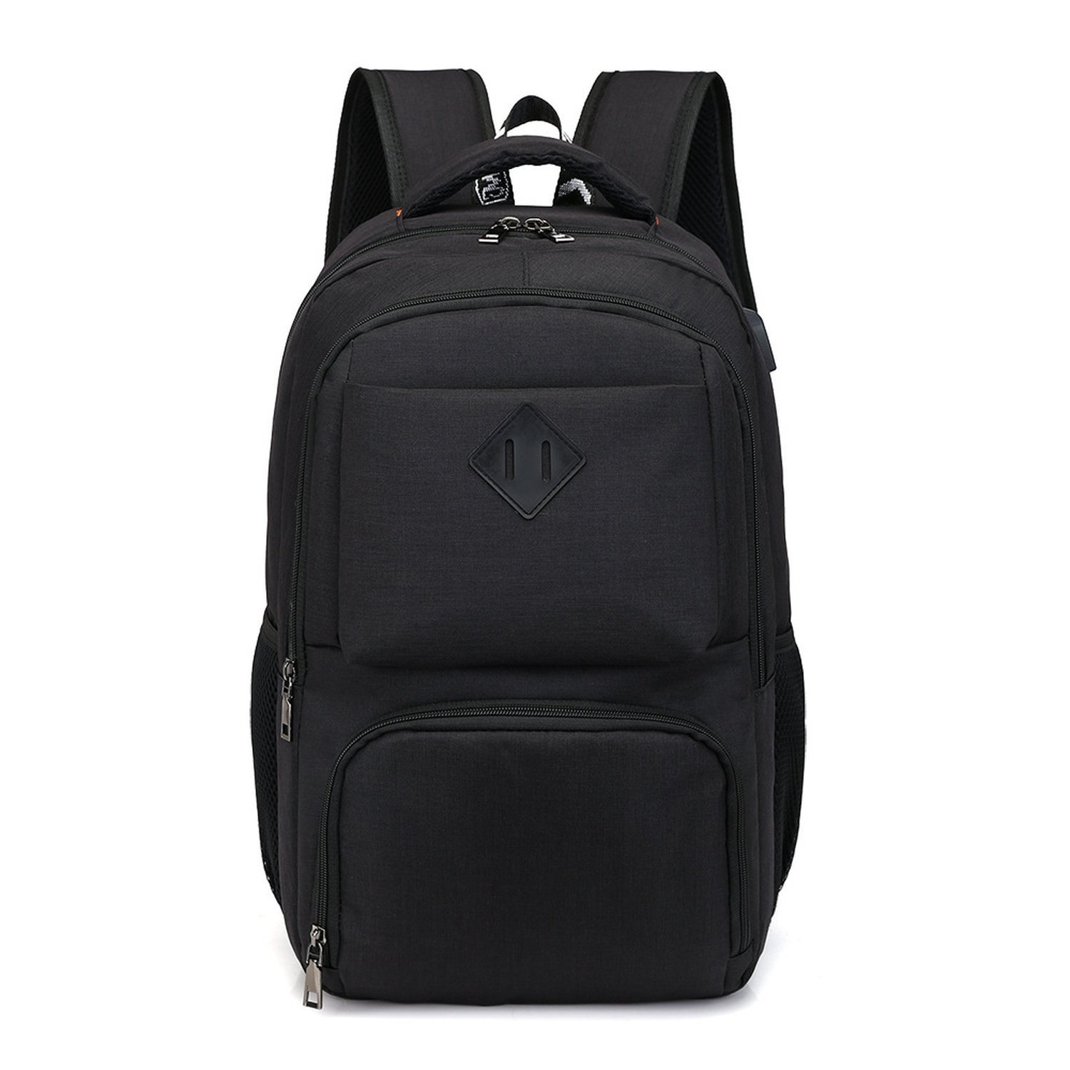 LOKOUO Leisure Business Multi Intelligent Backpack Computer Bag USB Charger Waterproof Travel Backpack Senior College Student Book.Gray-black