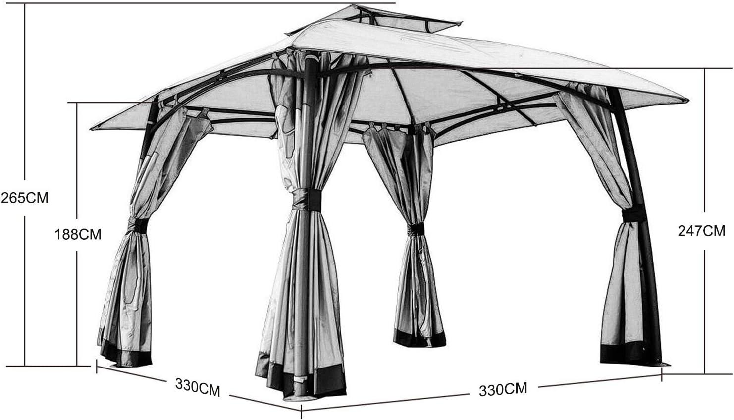 Grand patio Gazebo Exterior Impermeable, 3.3 x 3.3 m. para Camping, con Marco de Acero Negro y Doble Techo ventilado, Anti Insectos y con opción a privacidad, Color Beige: Amazon.es: Jardín