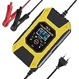 Moniel Carregador de bateria de carro, carregador de baterias de chumbo-ácido 12V 7A, visor LCD Smart Battery Maintainer 7-es