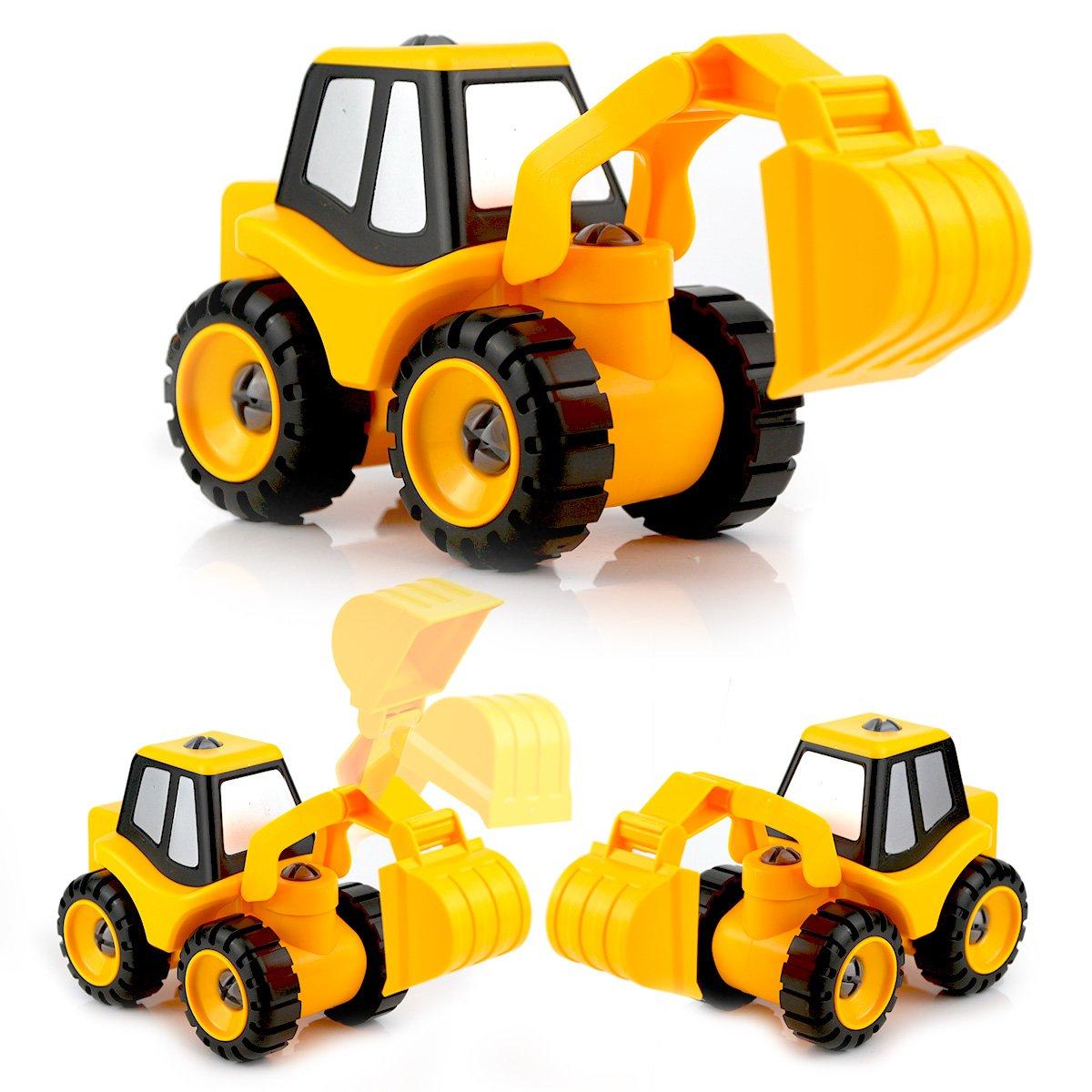 hormigonera excavadora QUN FENG Engineering Car Truck Montado DIY a Dumper bulldozer asfalto pavimenta para ni/ños juguete educativo taladro