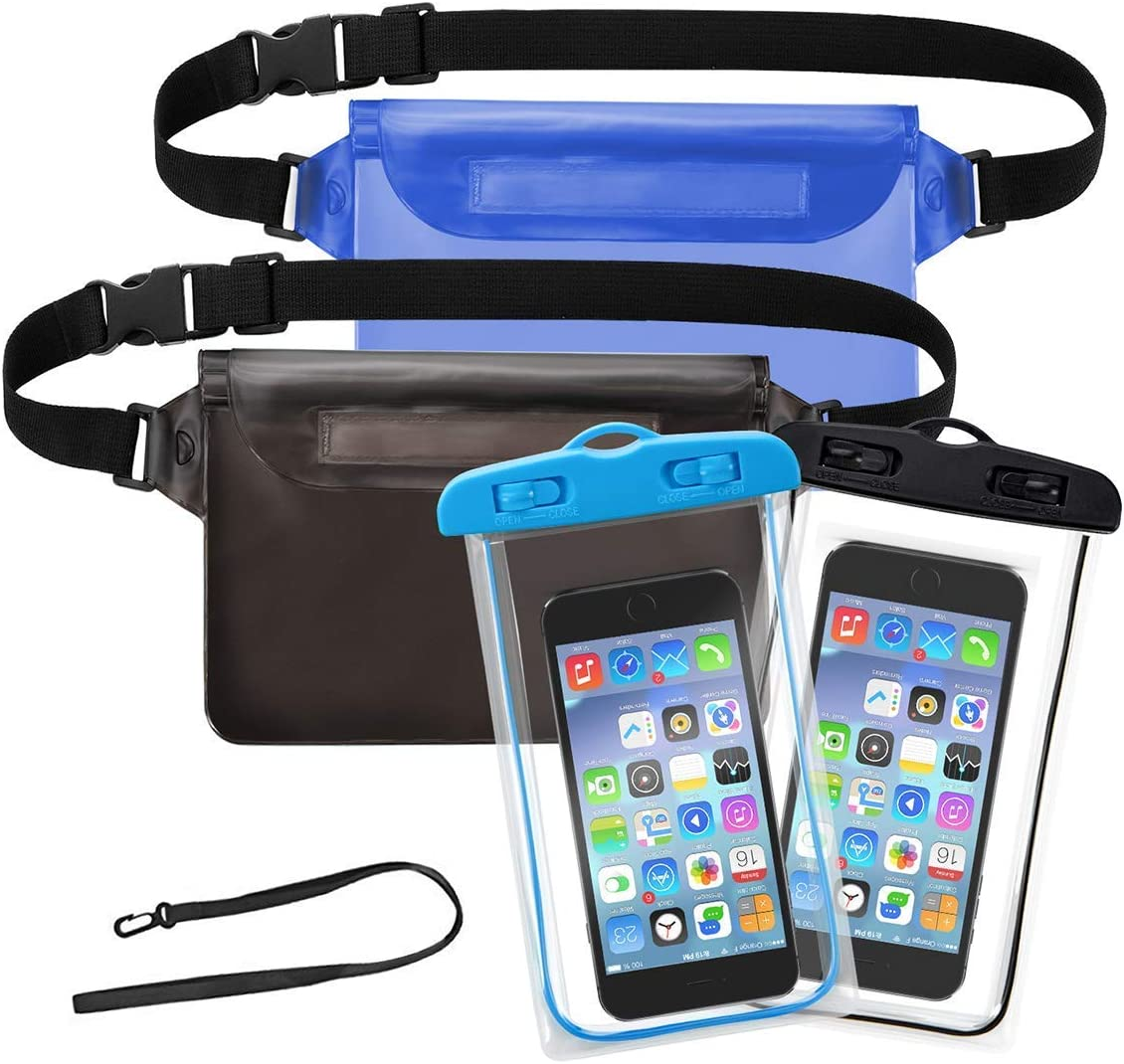 Followyt Waterproof Cell Phone Bag 2 Pack Waterproof Waist Pouch And 2 Pack Waterproof Phone Case Dry Bags For Boating Swimming Kayaking Beach Pool Water Parks Keeping Phone Wallet Safe And Dry Sports Outdoors Amazon Com