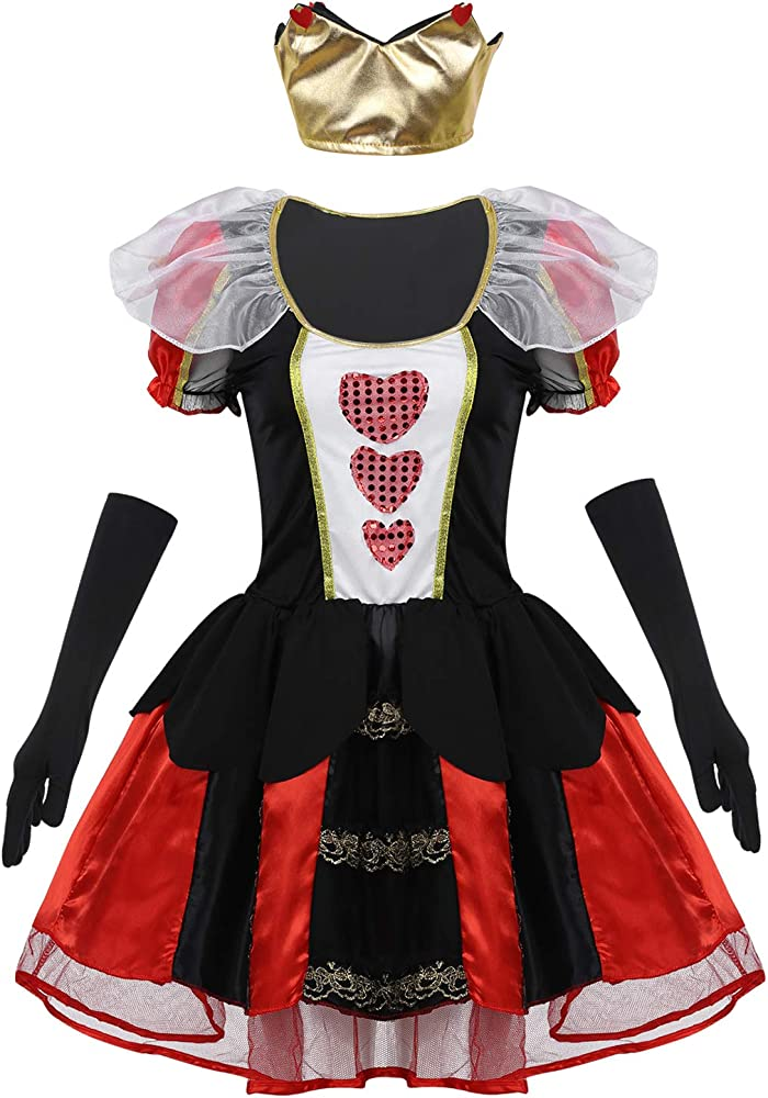 YiZYiF Disfraz Reina Roja Mujer Chica Vestido Reina de Corazones ...