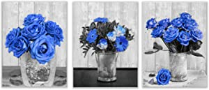 Canvas Wall Art for Bedroom Blue Rose Picture Print 3PCS Flower Artwork Modern Home Gallery Living Room Decor Wall Decoration Black and White Romantic Floral Prints Unframed,13.3''X17.3''(Blue Rose)