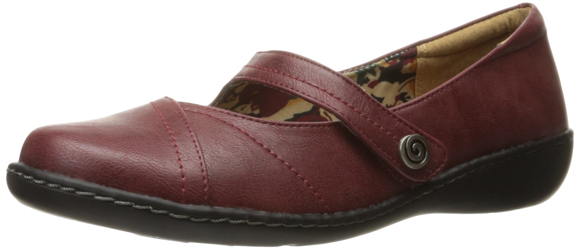 Soft Style by Hush Puppies Women's Jayne Mary Jane Flat, Dark Red Leather, 8.5 M US