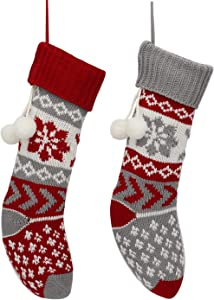 DIKOCO 2 Pack 21 inch Knitted Christmas Stocking with Snowflake Knit Christmas Stocking Red and Grey Extra Large Classic Holiday Décor