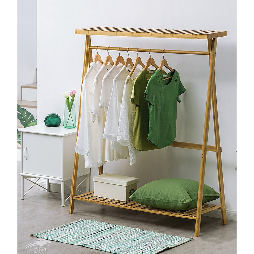 1 110cm Clothes Stand Bamboo for Bedroom Drying Wood with shoes Rack Coat Racks