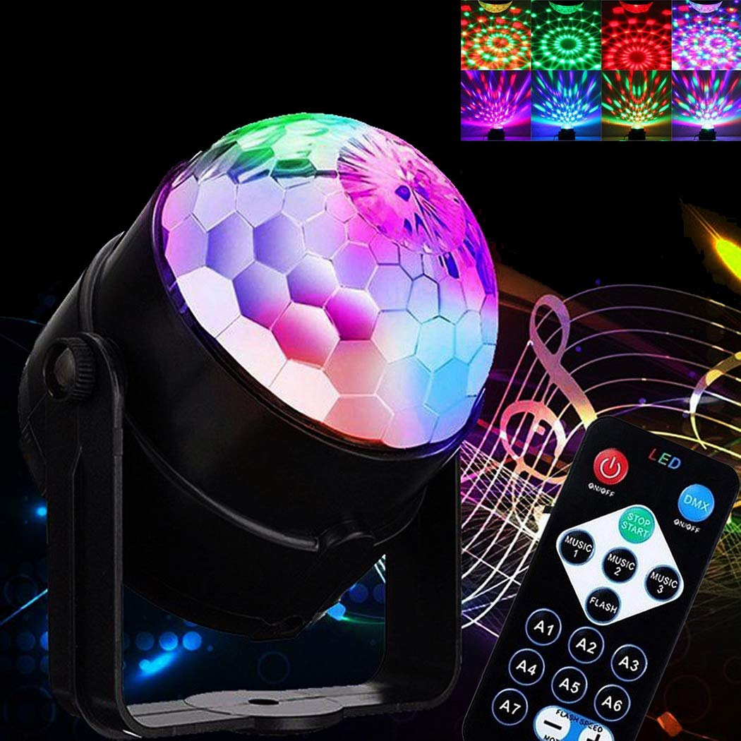 Loveje Disco Light LED RGB Sound Activated Party Mini Lights with Remote Control Multiple Modes Supplies Strobe Light Dance Light for Kid, Parties, Bedroom, Birthday DJ Bar Club Pub (Black)