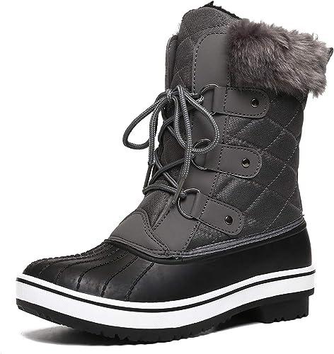 gracosy Bottes de Neige Imperméable Femme, Bottes Après Ski Fourrure Chaussures Hiver Bottines Pluie à Lacets Boots Fourrée Chaude pour Ville