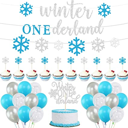Amazon Com Winter Onederland Birthday Decorations Boy Winter 1st Birthday Party Decorations Blue And Sliver Banner Cake Toppers Christmas Snowflake Balloons Set For Winter Wonderland New Year Baby Shower First Birthday Party Supplies