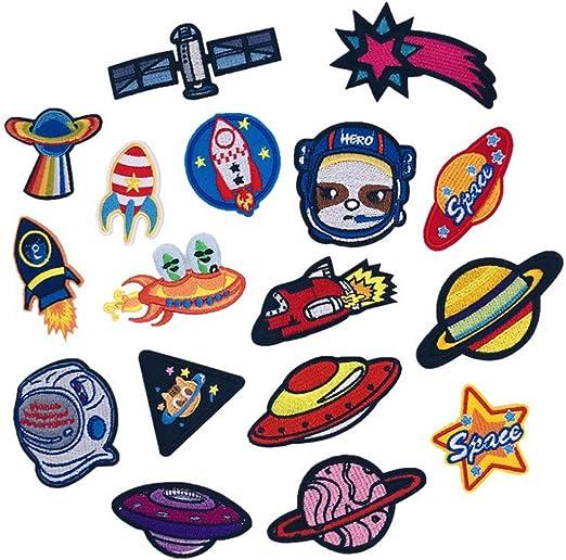 Amaoma 17 Stück Aufbügelflicken Astronaut Bügelbilder Erwachsene Kinder Aufnäher Patches Bügelflicken Flicken zum Aufbügeln Niedlich DIY Kleidung