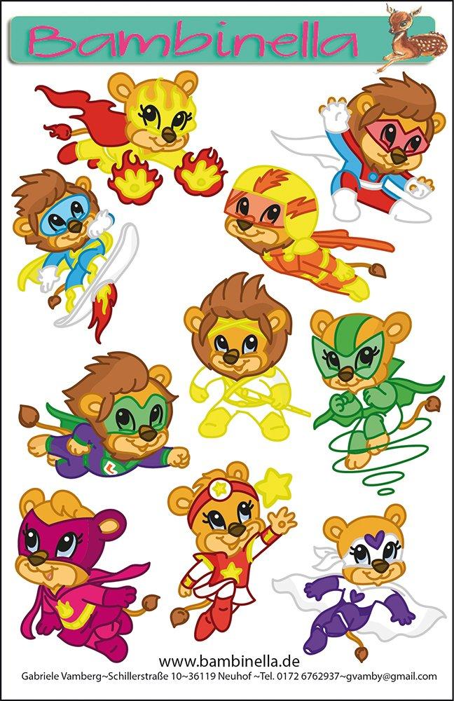 Made in eigener Werkstatt in Germany Gabriele Vamberg Löwen Motiv Bambinellas Stickerparade 10 Sticker
