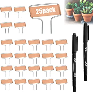 25Pack Plant Labels Markers, Copper Metal Plant Tags Garden Labels Markers for Garden Waterproof, Garden Signs Tags Wall Planters for Outdoor Plants, Stakes for Gardening Vegetable with 2 Marker Pen