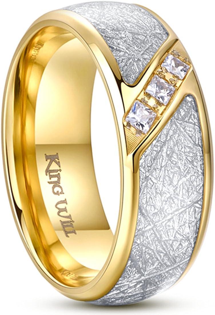 King Will Meteor 8mm Men's Gold Titanium Steel Wedding Engagement Ring Cubic Zirconia