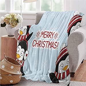 Christmas Nap Blanket New Year Quote Cute Penguins with Hats and Scarf Snowflakes Kids Children Theme Gifts to Your Family,Friends,Kids Full Size Blue Red