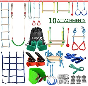 Ninja Warrior Obstacle Course for Kids - 2X50FT Ninja Slackline with Most Complete Accessories for Kids, Swing, Trapeze Swing, Rope Ladder, Obstacle Net Plus 1.2M Arm Trainer (Double Line Design)